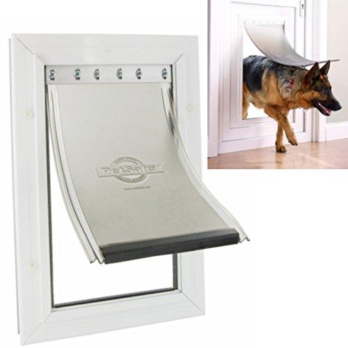 Hundetür sicher und leise Hundeklappe 70x40 cm(Innenmaße 64x36cm) weiß mit Aluminium-Rahmen und 2-Wege-Schloss für große Hunde bis 100kg Durchgang-Schulterbreite max. 35cm Marken-Sicherheitstür Metall-Tür-Klappe Staywell 660