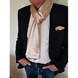 Exklusiver Herren Schal mit passendem Einstecktuch in Gold