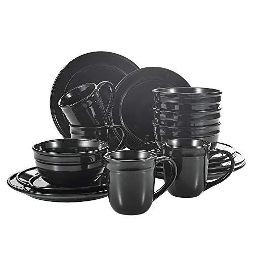 vancasso Noah Vajillas de Porcelana, Juegos de Vajilla de 16 Piezas Tazas de Desayuno, 2 Tamaños Platos y Cuencos de Cereales para 4 Personas, Negra