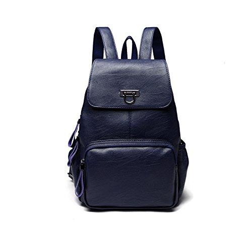 CARQI Leder Rucksack Mode Mini Schule Handtasche Stilvolle Schöne für Frauen, Damen und Mädchen (Blau)