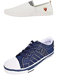 Scantia Men/Boys Combo Casual Pack Of 2 Trendy Canvas Shoes With Stylish Look New Latest Fashionable Casual Combo...