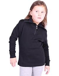 Medico–Camiseta de esquí para niños, 100% algodón, manga larga, cuello alto, cremallera, color negro, tamaño 140