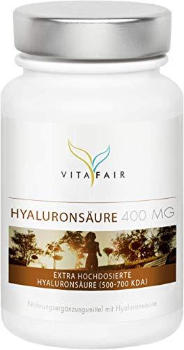 Hyaluronsäure | 400mg pro Kapsel | 120 Kapseln | Hochdosiertes Hyaluron aus Mais-Fermentation mit 500-700 kDa | Vegan | Ohne Magnesiumstearat | Made in Germany
