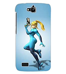 ColourCraft Warrior Girl Design Back Case Cover for HUAWEI HONOR HOLLY