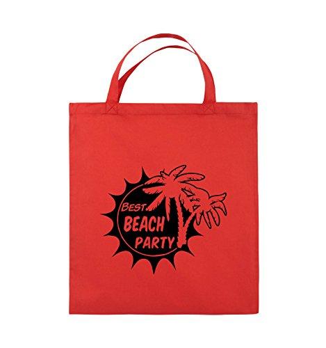 Comedy Bags - BEST BEACH PARTY - PALMEN - Jutebeutel - kurze Henkel - 38x42cm - Farbe: Schwarz / Pink Rot / Schwarz