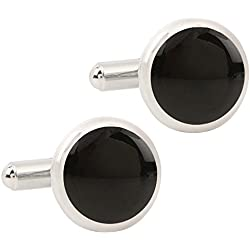 Tripin Round Black And Silver Cufflinks For Men In Red Colour Tripin Branded Box Only