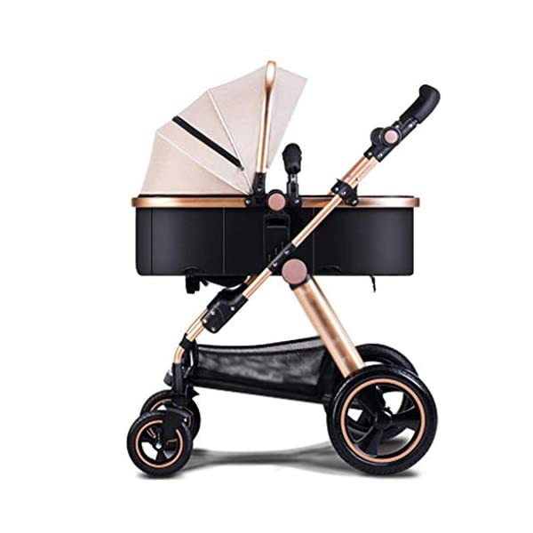 MU Comfortable Pushchairs Baby Stroller Buggy Child Foldable Kids Pushchairs Travel System Foldable with Shock Absorber Four Seasons Universal Pram,Brown   2