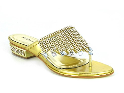 Femme Strass Mesdames Faible Wedge Sandales Mules orteil Post Chaussures à enfiler Taille 3 4 5 6 7 8 - Gold (2099-39)