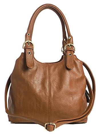Big Handbag Shop Womens Medium Size Plain Multi Pocket Shoulder Bag with a Long Strap (33622 Dark Tan)