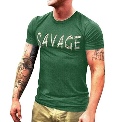 Elastische Kapuze (Herren kurzärmliges T-Shirt, männlicher Buchstabendruck, lässige Bluse, modisches Top, elastisch)