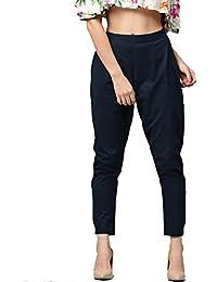 Jaipur Kurti Women's Cotton Slub Trouser Pants (Navy Blue)