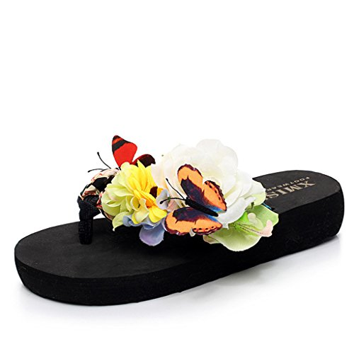 Eagsouni® Damen Mädchen Böhmen süße Blume Plateau Sandalen Pantoletten Flip Flops Keilabsatz Zehentrenner Sommer Freizeit Strandschuhe Hausschuhe #2Schwarz