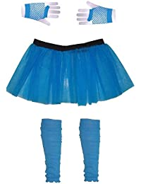 Girls 3 Layer Tutu set with Leg Warmers & Fishnet Gloves Age 4 to 12 (7, Turquoise)