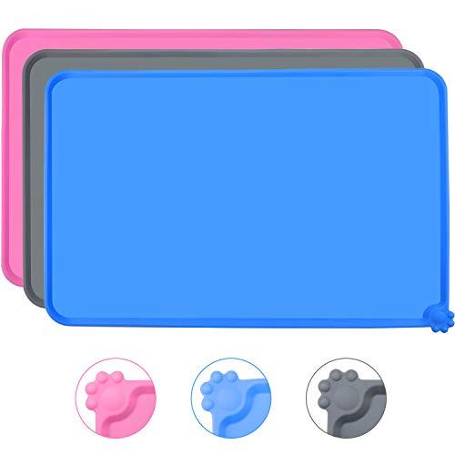 Joytale Silicone Tappetino Antiscivolo per Ciotola Cane, Impermeabile Tappetino per Gatti sotto Ciotola, Mantenere Pulito Il Pavimento,47×30cm, Blu