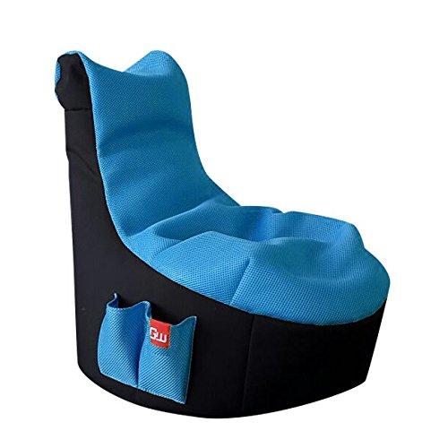GAMEWAREZ Ice Kinder Sitzsack, MADE IN GERMANY. für PS4, XBOX360, XboxOne, Nintendo DS, Nintendo Switch, Smartphone, schwarz mit blauer Sitzfläche und Tasche