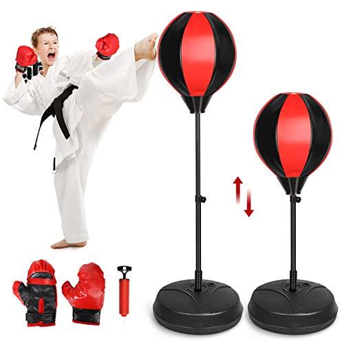 Amzdeal Punchingball Boxen Set für Kinder Jugend höhenverstellbar 77cm - 124cm mit Pumpe und Boxhandschuhe, Skalierbar Boxball 90-Grad-Bewegung die Reaktionsrate punchingbox für Kinder geeignet
