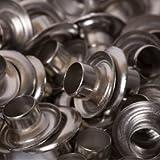 BIG-SAM - 100 Ösen mit Scheiben aus Messing (rostfrei) - Größen im Innendurchmesser: 4, 5, 8, 11 oder 14 in den Farben: Altkupfer, Altmessing, Brüniert, Gold oder Silber im Vorteils-Sparpack! (5, Silber)