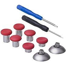 YoRHa 8 en 1 Metal magnético Thumbsticks Analog Sticks Joysticks Reparación de repuesto Kits(rojo) para PS4/Slim/Pro & Xbox One/S/Elite & Switch Pro Mando con Destornilladores