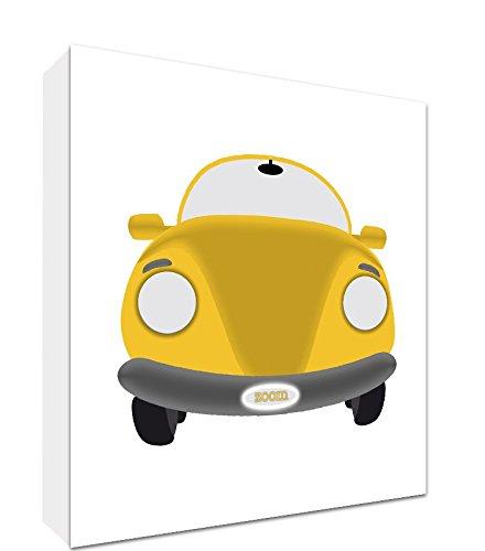 Feel Good Art Gallery verpackt Box Leinwand, die Solide Front Panel für das Auto Crazed Kleinkind (76x 76x 4cm, Large, Gelb auf Weiß, Vintage Sport Auto) (Gelb Artwork Canvas)