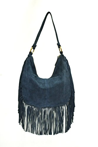 Neon By paint PT2152HO009BLU Women's Hobo with fringe(Blue)