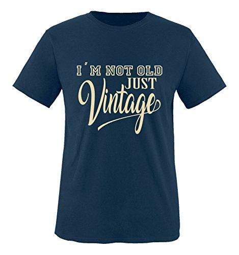 Comedy Shirts - I'm not old just vintage - Herren T-Shirt - Navy / Beige Gr. M (Old Hund Navy)