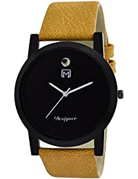 Om Designer Slim Analogue Black Dial Genuine Leather Belt Watch For Mens & Boys OM1010