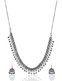 Ganapathy Gems Blue Metal Strand Necklace Set For Women (13270)