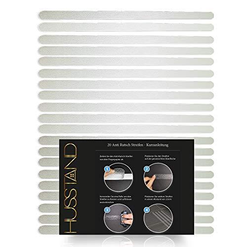 husstand - 20 x Anti-Rutsch Streifen (45x2 cm), Antirutsch Dusche und Antirutsch Badewanne, transparent, selbstklebend, ideal für den Haushalt