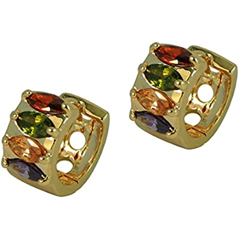 Hot trendy cerchio stile–Eliptic placcato oro Orecchini di cristallo multicolore in confezione regalo - Hot Diamonds Cerchio Orecchini