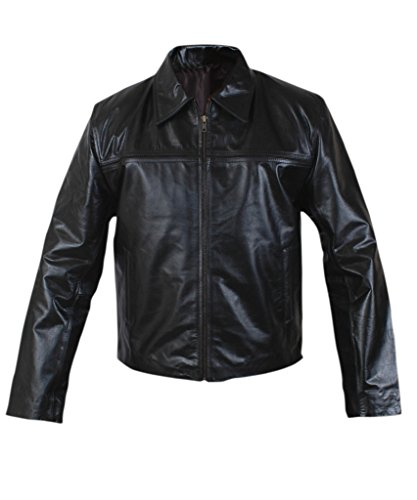 F&H Men's Daniel Craig Layer Cake Genuine Leather Jacket Black