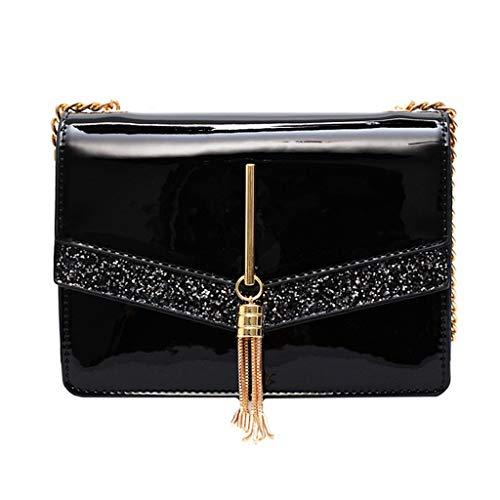 Mitlfuny handbemalte Ledertasche, Schultertasche, Geschenk, Handgefertigte Tasche,Damenmode Pailletten Quaste Crossbody Umhängetaschen Geldbörse Messenger Bag