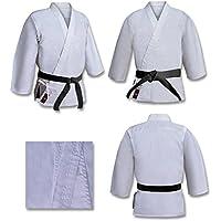 Traje de Karate o Aikido Gi de Lona Gruesa Cardada de Competición 16 Oz Blanco Legía - Blanco, 3/160 cm Pequeña, Algodón