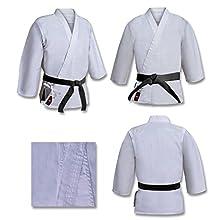 Karateanzug, für Turniere der Schwergewichte, Gewicht 500 g, 100 % gebürsteter Baumwollstoff,, gebleichter weißer Kimono für Karate, Kampfsportanzug für Aikido, Größe: L (180 cm).