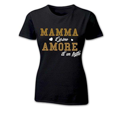"""T Shirt Donna Idea Regalo Per La Mamma """"Star"""" NERA Oro"""