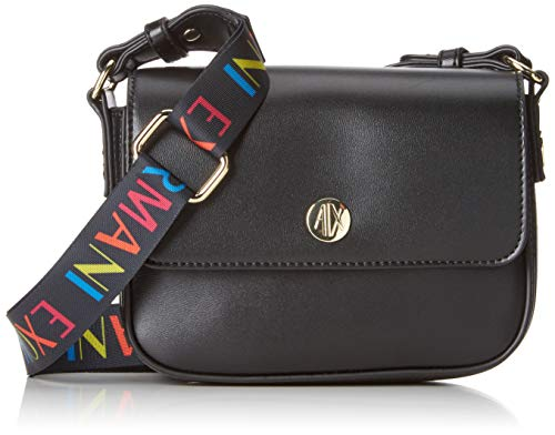 Armani Exchange Damen Small Crossbody Bag with Round Logo Umhängetasche, Schwarz (Black), 18x8x21 cm