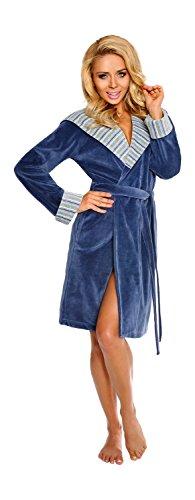 Femmes Court Coton A Capuche Peignoir de Bain Avec Une Ceinture Et Des Poches Bleu Poussiéreuse