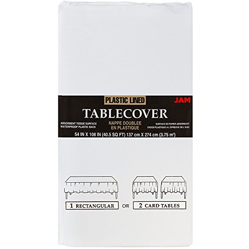 Jam Papier Abdeckung Tisch, rechteckig, Papier, weiß, Paper Tablecover (54 x 108 in) -