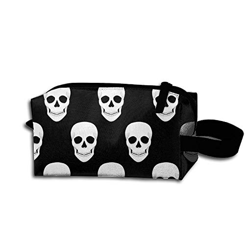 Halloween Holiday Skull Toiletry Bag-Portable Travel Organizer Cosmetic Make Up Bag Case for Women Men Shaving Kit with Hanging Hook for Vacation