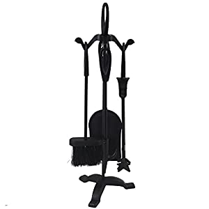 LESS THAN HALF-PRICE - REDUCED TO CLEAR - Black Fireside Companion Set Five Piece Set with Loop Tops - Perfect for All Rooms & Fireplace Settings