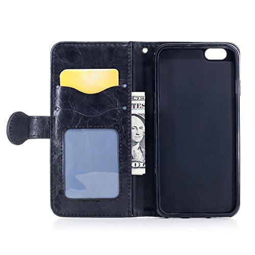 """MOONCASE iPhone 5/iPhone 5s/iPhone SE Coque, [Style Rétro] Durable PU Cuir Flip Housse TPU Souple Anti-dérapante Shock Absorption Protection Etui Case pour iPhone 5/5s/iPhone SE 4.0"""" Marron Noir"""
