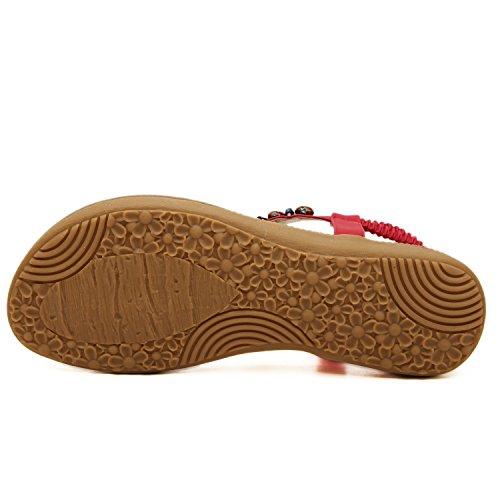 Minetom Donne Ragazze Estate Sandali Boemia strass decorazione scarpe ql523-uk01F Khaki