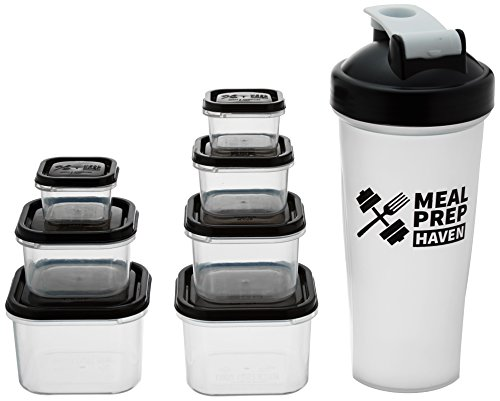 meal-prep-haven-7-piece-portion-control-container-kit-with-guide-and-protein-shaker-bottle-black-lid