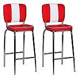 FineBuy 2er Set Barhocker King American Diner 50er Jahre Retro 2 Barstühle | Sitzfläche Gepolstert mit Rücken-Lehne | Thekenstühle mit Fußstütze | Sitzhöhe 76 cm | Farbe: Rot Weiß