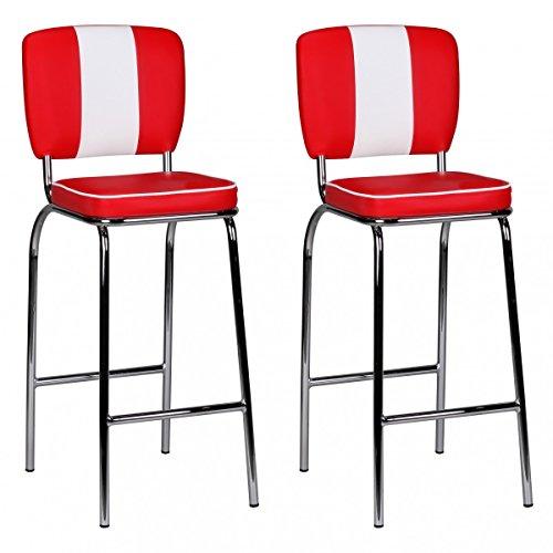 ocker King American Diner 50er Jahre Retro 2 Barstühle | Sitzfläche gepolstert mit Rücken-Lehne | Thekenstühle mit Fußstütze | Sitzhöhe 76 cm | Farbe: Rot Weiß ()