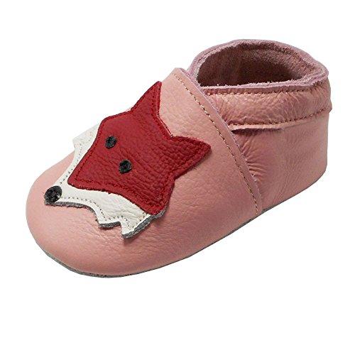 YIHAKIDS Premium Weiche Leder Krabbelschuhe Babyschuhe Kleinkind Lauflernschuhe Mit Karikatur Fuchs(Rosa,0-6 Monate,19/20 EU) (Baby Mokassins Größe 1)