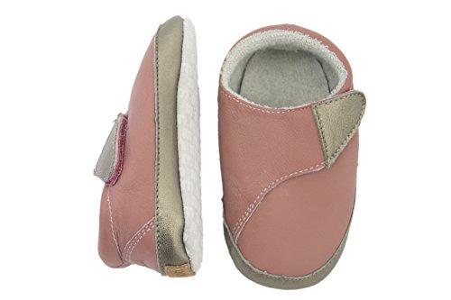 Melton Leder-krabbelschuhe - Cross Velcro, Chaussons pour enfant bébé fille Rose - Pink (Dusty Rose507)