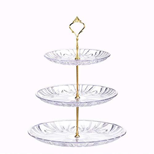 Ben-gi 3-Tier Runde Transparent Food-Grade Kunststoff Obst Dessert Kuchen-Standplatz-Tee-Party-Servierplatte