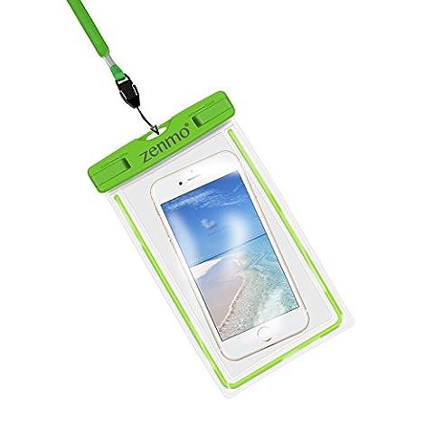 Pochette étanche, zenmo Certifiée IPX8 Pochette Sac étanche pour iPhone 7, 7 Plus,6s / 6, 6s Plus / 6 Plus, SE 5S 5C, Samsung Galaxy S8/S8+/S7/S7 Edge/S6/S6 Edge/Edge+, Note 5/4/3/Edge, Huawei P10/P10 Lite/P9/P9 Lite et les Autres Smartphones de Taille Égale et Inférieure à 6'', Idéal pour Natation, la Plage, Pêche, la Randonnée