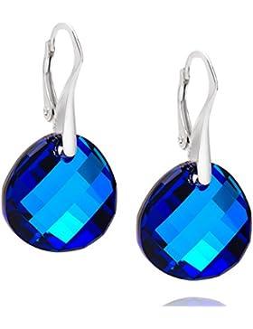LillyMarie Damen Silber-Ohrringe echt Silber blau original Swarovski Elements Rund Schmuck-Beutel, Geburtstag...