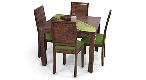 Urban Ladder Arabia Square - Oribi Four Seater Solid Wood Dining Table Set (Teak Finish Finish, Avocado Green)